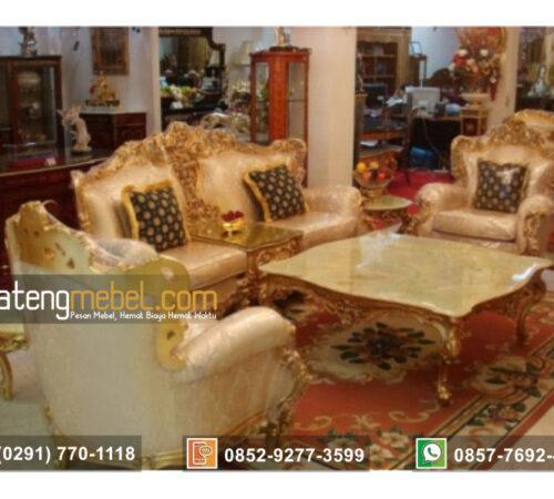 Kursi Tamu Sofa Mewah Emas Putih