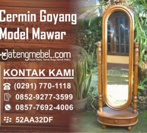Cermin Rias Bundar Goyang Ukir Model Mawar