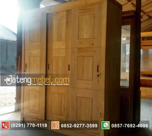 Lemari Minimalis Sliding (geser) pintu 3 Kayu Jati
