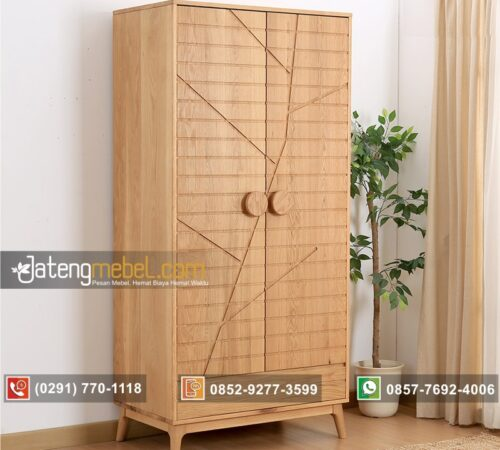 Lemari Pakaian Minimalis Pintu 2 Jati (Motif Batang Pohon)