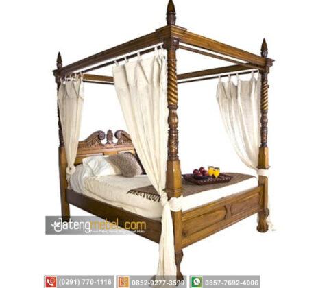 Tempat Tidur Kanopi Ukiran Ulir Doppelbett Jati