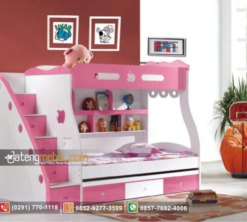 Tempat Tidur Anak Perempuan Kembar Apel Pink