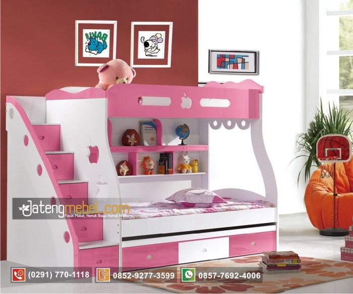 tempat-tidur-anak-perempuan-kembar-apel-pink