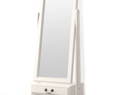 Meja Rias Pigura Cermin (Standing Mirror) Duco Putih Dua Laci