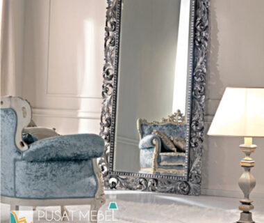 Pigura Cermin Ukiran Duco Silver