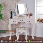 Meja Rias Ukir Duco Warna Putih Laci Tiga