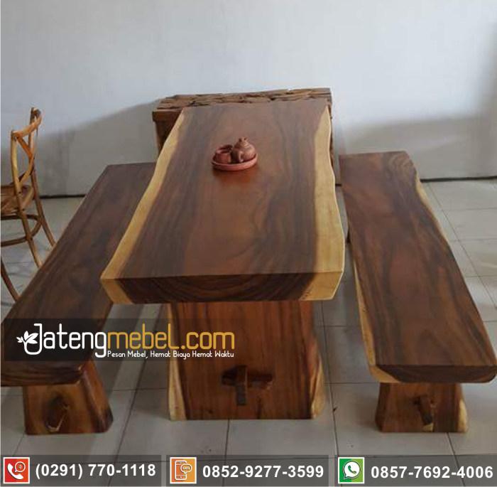 kursi meja trembesi kayu meh solid wood duco putih mewah Situbondo
