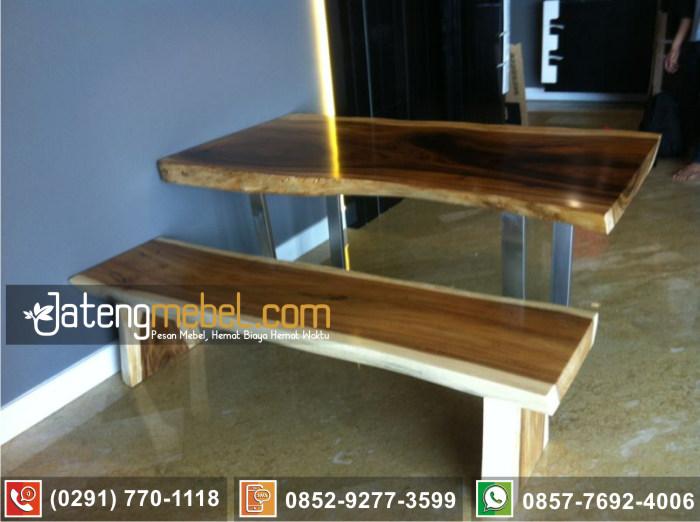 kursi meja trembesi kayu meh solid wood duco putih mewah Serang