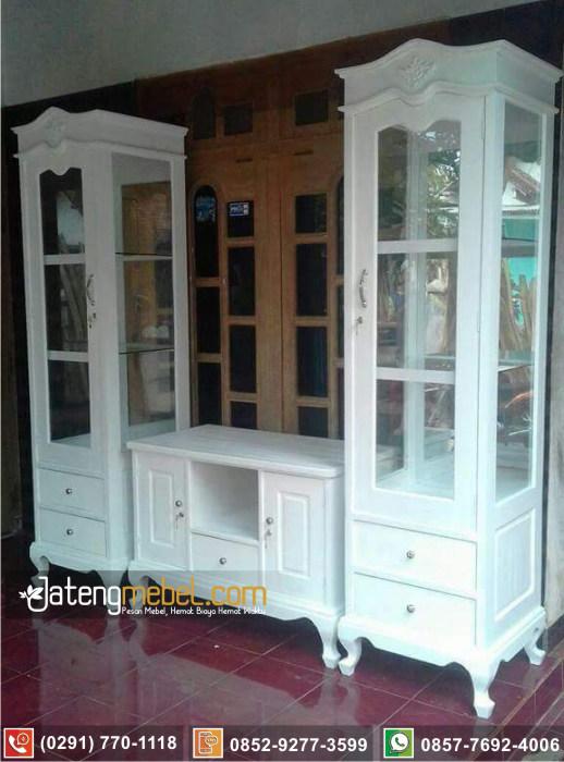 lemari hias pajangan ukir jati Cirebon terlengkap