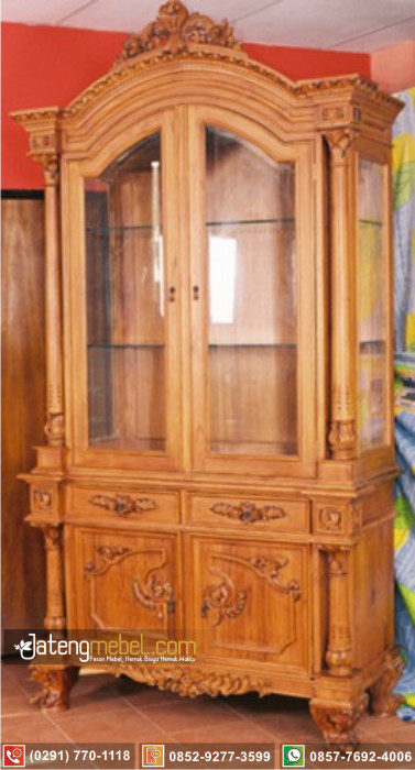 lemari hias pajangan ukir jati Cirebon terbaru modern