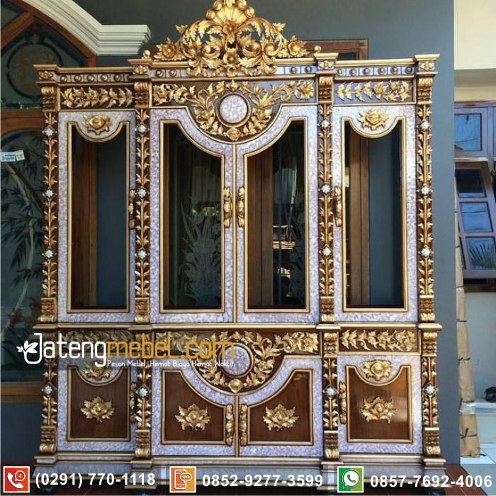 lemari hias pajangan ukir jati Cirebon minimalis terlengkap