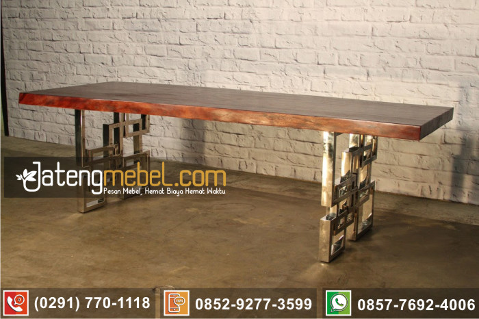 kursi meja trembesi kayu meh solid wood terbaru kaki stainless anti karat Trenggalek