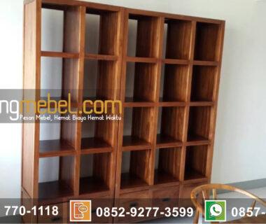 lemari Buku Jati minimalis 4 Tingkat Towanda