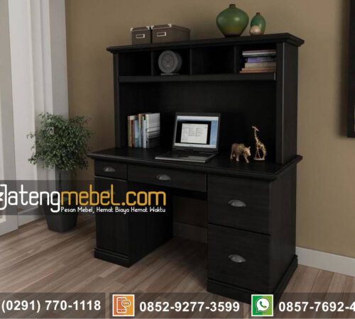Meja Belajar Minimalis Black Finishing