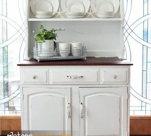 Model Lemari Dapur Ukir Warna Putih