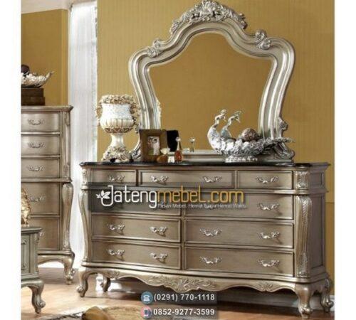 Meja Rias Ukir Silver Putih