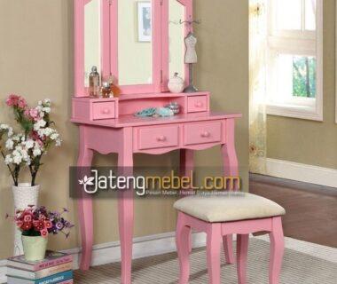 Meja Rias Ukir Pink Anak