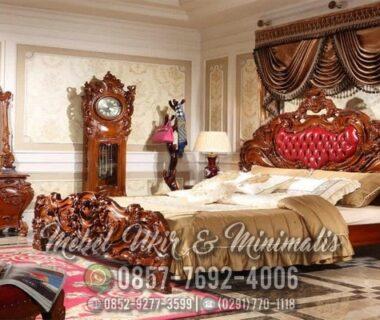 Set Tempat Tidur Ukir Jati Jam Hias Custom