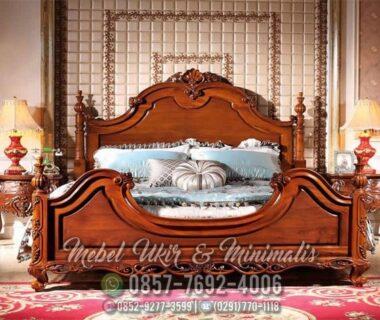 Set Tempat Tidur Ukir Jati Klasik Natural