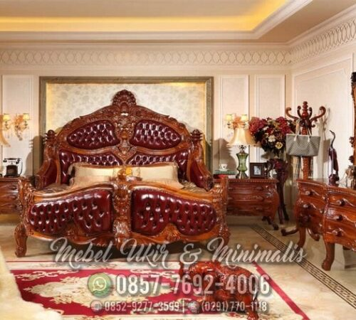 Set Tempat Tidur Ukir Jati Motif Kapal Raja