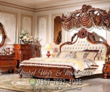 Set Tempat Tidur Ukir Jati Jok Putih