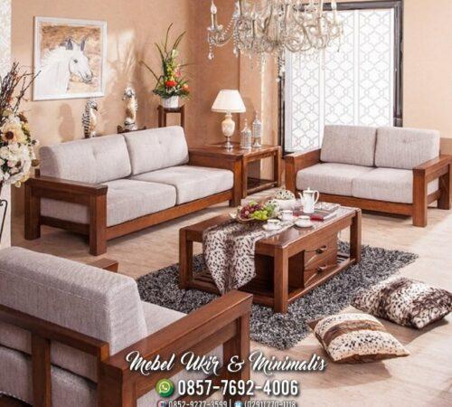 Kursi Tamu Sofa Minimalis Kayu Jati Formasi 2 2 2