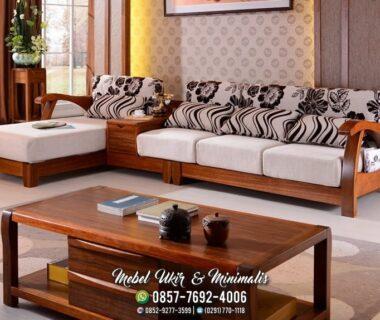 Kursi Tamu Sofa Minimalis Kayu Jati Laci Tengah