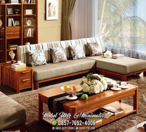 Kursi Tamu Sofa Minimalis Sudut Tanpa Tanganan