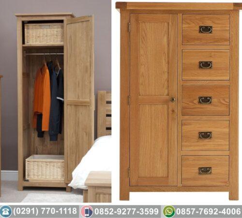 Lemari Pakaian Minimalis Pintu 1 Jati Asli