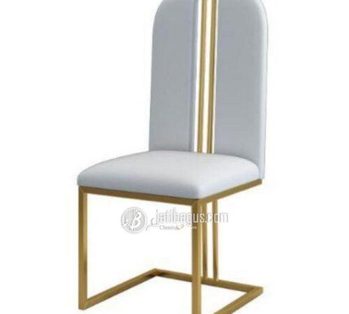 Kursi Makan Stainless Gold Mirror Hariline Glossy