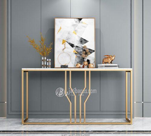 Meja Konsul Stainless Gold Mirror Hariline Glossy